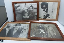 Three Stooges Lot Of 4 Vintage Pictures With Frames 12x16
