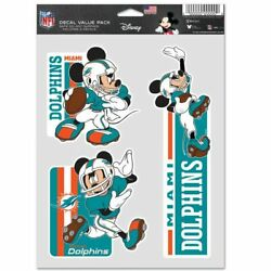 Miami Dolphins Mickey Mouse 3 Piece Multi-use Decals Disney Nfl Licensed