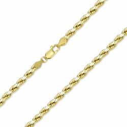 10k Solid Yellow Gold Diamond Cut Rope Necklace Chain 4mm 20-28 -link Men Women