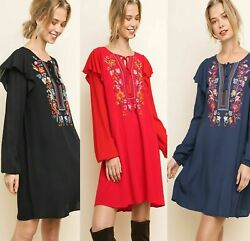 Sml Umgee Boutique Black Navy Or Red Floral Embroidered Dress/tunic Bhcs