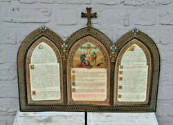 Antique Religious Biblican Canon Text Framed Neo Gothic Cloisonne Triptych