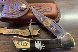 Casexx P158-lssp Lock Back Mastodon Ivory Knife With Sheath 1999 With Stand
