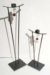 Vintage 1997 Girardini Design Steel And Glass Sculpture Large And Small Pair