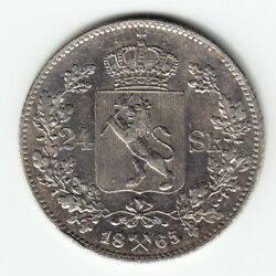 Norway 24 Skilling 1865 Km327 Ag.875 1-year Type Carl Xv Minted 79000 Very Rare