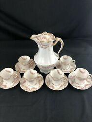 Theodore Haviland Antique Limoges Pink Roses Chocolate Cup Set Schleiger