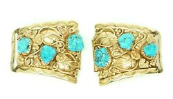 N Walley Native American Indian Navajo14k Yellow Gold And Turquoise Watch Tip Ends