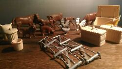 Vintage Marx Farm Lot Animals And Accessories