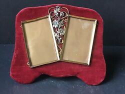 Rare Vintage Metal Silver Red Victorian Antique Double Picture Frames Stunning
