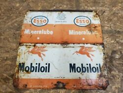 Imperial Esso Product Mineralube And Mobil Oil Pegasus Can Vintage Sign