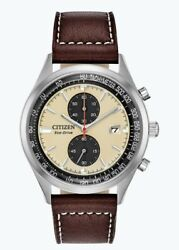 Citizen Eco-drive Menand039s Chandler Chronograph Beige Dial 43mm Watch Ca7020-07a