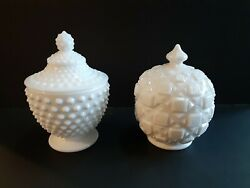Rare Two 2 Vintage Milk Glass Covered Candy Dishes Hobnail And Quilt Htf