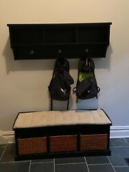 Pottery Barn Samantha Black Entry Bench With Cushion And Wall Shelf