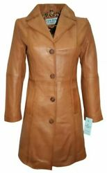 Ladies Fashion 3457 Tan Very Stylish Knee-length Body Fitted Leather Jacket Coat