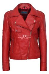 Ladies 9824 Laced Red Biker Style Motorcycle Soft Napa Italian Leather Jacket