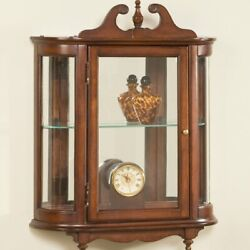 Vintage Antique Curio Cabinet Shelving Display Cupboard China Solid Wood Decor