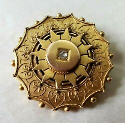 Antique C1811 Victorian 15k Yellow Gold And Diamond Memorial Brooch 9.4 Grams