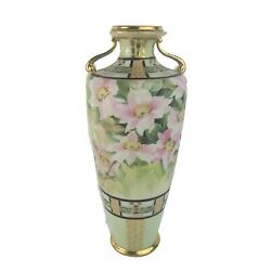 Antique Nippon Porcelain Vase Or Urn Hand Painted Double Handle 14