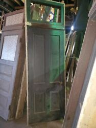 Vintage 4 Panel Pine Doors In Original Jamb With Transom. Antique Farm House Ho
