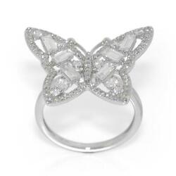 0.96 Tcw Baguette And Round Diamonds Butterfly Ring In 14k White Gold Size 5.75