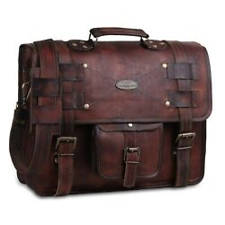 Leather Messenger Bags For Men Women Briefcase Laptop Computer Satchel Bag 16 in $51.69