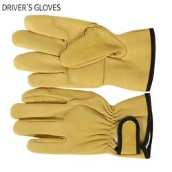 Ag-9121 Yellow Driveand039s Gloves Sheep Leather Hand Safety Work