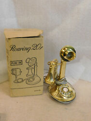 Vintage Roaring 20and039s Gold Candlestick Telephone Phone Rotary Made In Japan