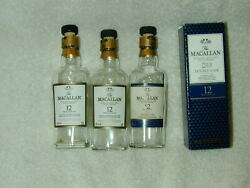 3 Macallan Scotch Whiskey 12 Yr Old 50ml Glass Rare Htf Empty  As Is