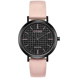 Citizen Eco-drive Womenand039s Black Dial Pink Strap 36mm Watch Em0765-01e