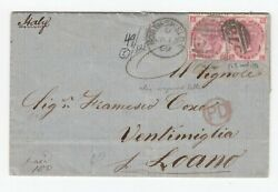 Gb Qv 3d Rose Sg103 Plate 5 Pair On Entire To Italy - 1869