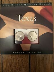 Texas 2004 P D State Quarters Coins Of America Unc With Trifold Card