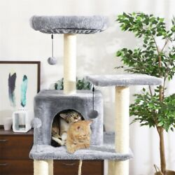 Cat Tree 60 Inches Multilevel Cat Towers with Luxury Condos Grey Fully Wrapped
