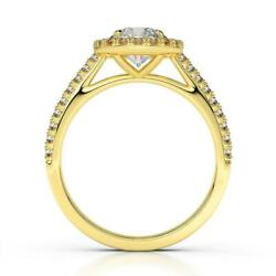 Ds-r-56-183 Accented 1.25 Ct F Si1 Halo Round Diamond Ring 14 K Yellow Gold