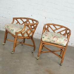 Vintage Pair Chinese Chippendale Rattan Rolling Accent Chairs Wicker By Henry Li