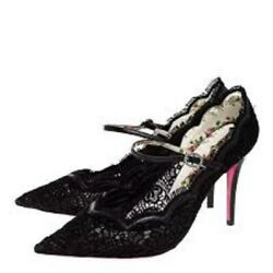 Nw Auth Virginia Pointy Toe Mary Jane Lace Blk Sz371/2ret1100 Bargain