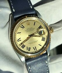 Rolex Vintage Two Tone Datejust 1601 Champagne Buck On Strap 1973 -yellow Gold
