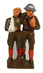 Grey Iron Lead Toy Soldier Soldier Helping Wounded Soldier G-105, Barclay Manoil