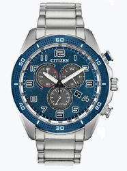 Citizen Eco-drive Menand039s Chronograph Blue Dial Date Display 45mm Watch At2440-51l