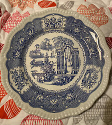 Spode England Blue Room Collection Pagoda Dinner Plate 10.75andrdquo Flawless
