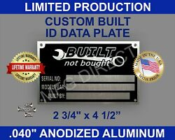 Serial Number Tag Name Plate Vin Id Data Custom Hot Rod Built Not Bought Blank