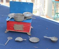 Vintage Tin Toy Stove With Cookware And Accessories