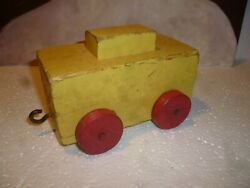 Antique Wood Toy Wagon Pull Building Block. Rare