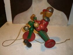 Antique Wood Toy Bicycle Pull Toy. Uber Rare