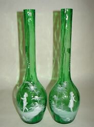 2 Victorian Mary Gregory Emerald Green Glass Vases Hand Painted Enamel 14.5