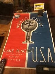 Vintage Lake Placid Olympic Region Poster Skiing World Cup 1979 Whiteface Signed