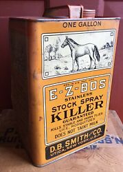Vintage Folk Art E-z-bos Stock Sray Killer Insect Repellent Tin Can Horse Graph