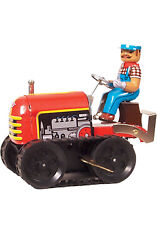 Collectible Vintage Bulldozer Tractor Model Tin Toy + Wind-up Key Adult Toys Nib