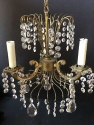 Wow Vintage Gold Prisms Ceiling Light Antique Metal Chandelier Waterfall