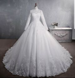 New White Long Sleeve Beaded Lace A-line High Neck Muslim Wedding Dress Size 10