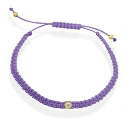 Solitaire Diamond Tcw 0.08 Purple String Rope Macrame 14k Y Or Wh Gold Bracelet