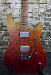 Kiesel Theos 6 - Satin Matte Custom Finish Red To Yellow Fade W/ Deluxe Gig Bag